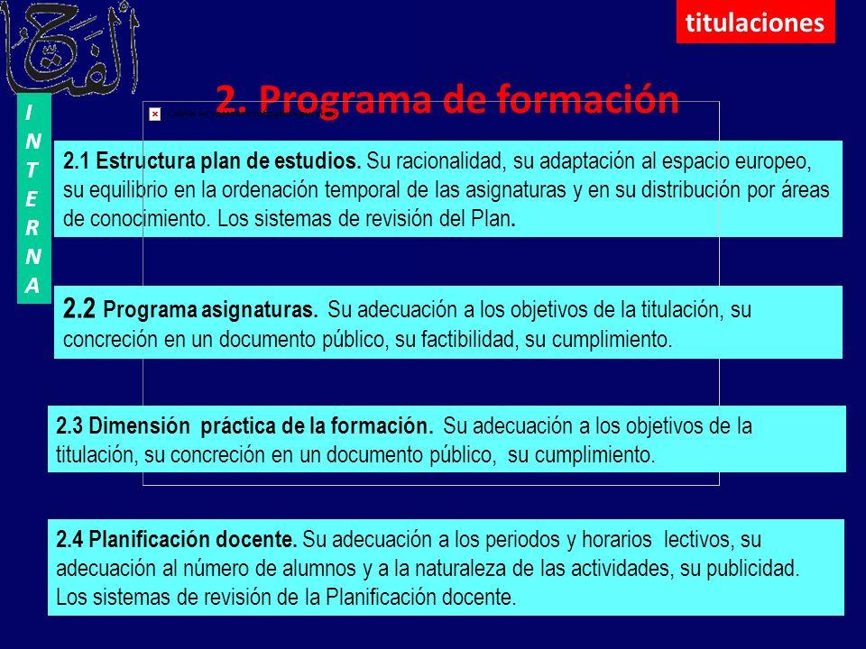 2. Programa de formación 2.1 Estructura plan de estudios. Su racionalidad, su adaptación al espacio europeo, su equilibrio en la ordenación temporal d