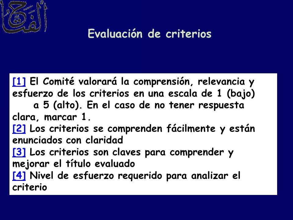 Evaluación de criterios [1][1] El Comité valorará la comprensión, relevancia y esfuerzo de los criterios en una escala de 1 (bajo) a 5 (alto). En el c