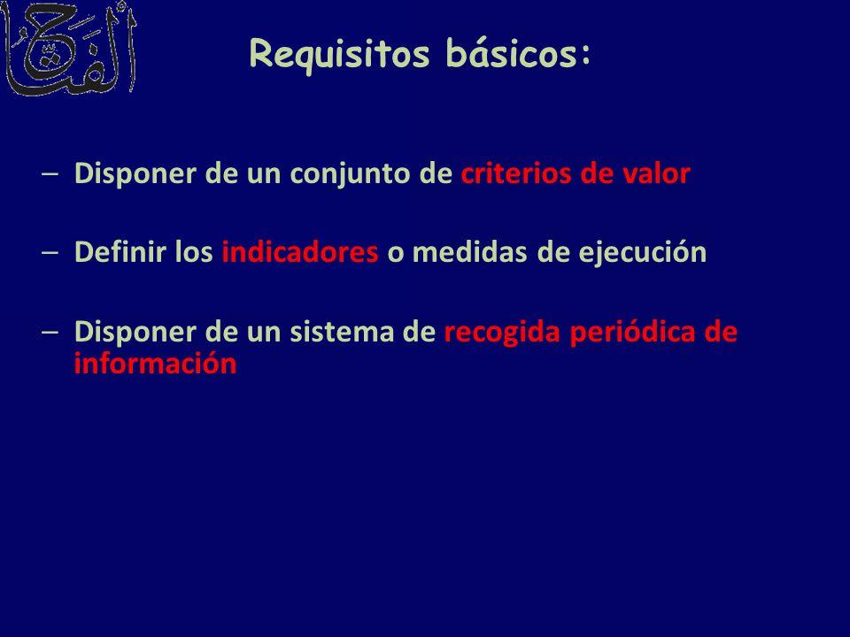 Requisitos básicos: –Disponer de un conjunto de criterios de valor –Definir los indicadores o medidas de ejecución –Disponer de un sistema de recogida