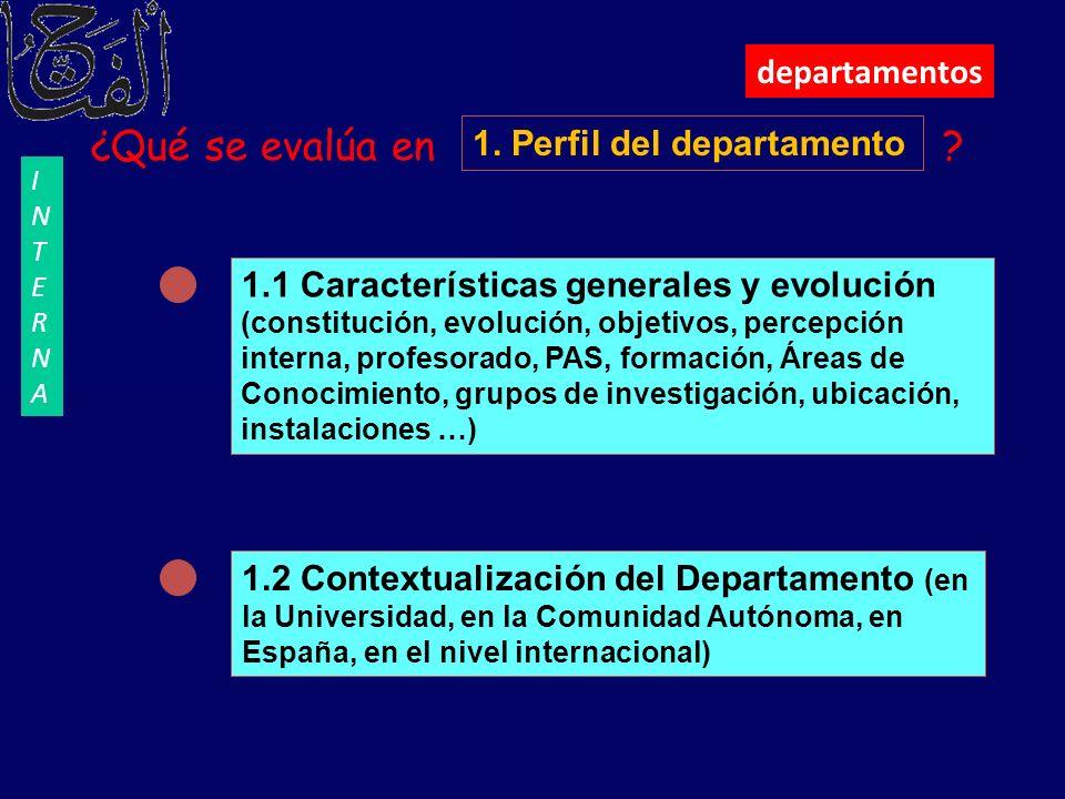 departamentos ¿Qué se evalúa en ? 1. Perfil del departamento 1.1 Características generales y evolución (constitución, evolución, objetivos, percepción