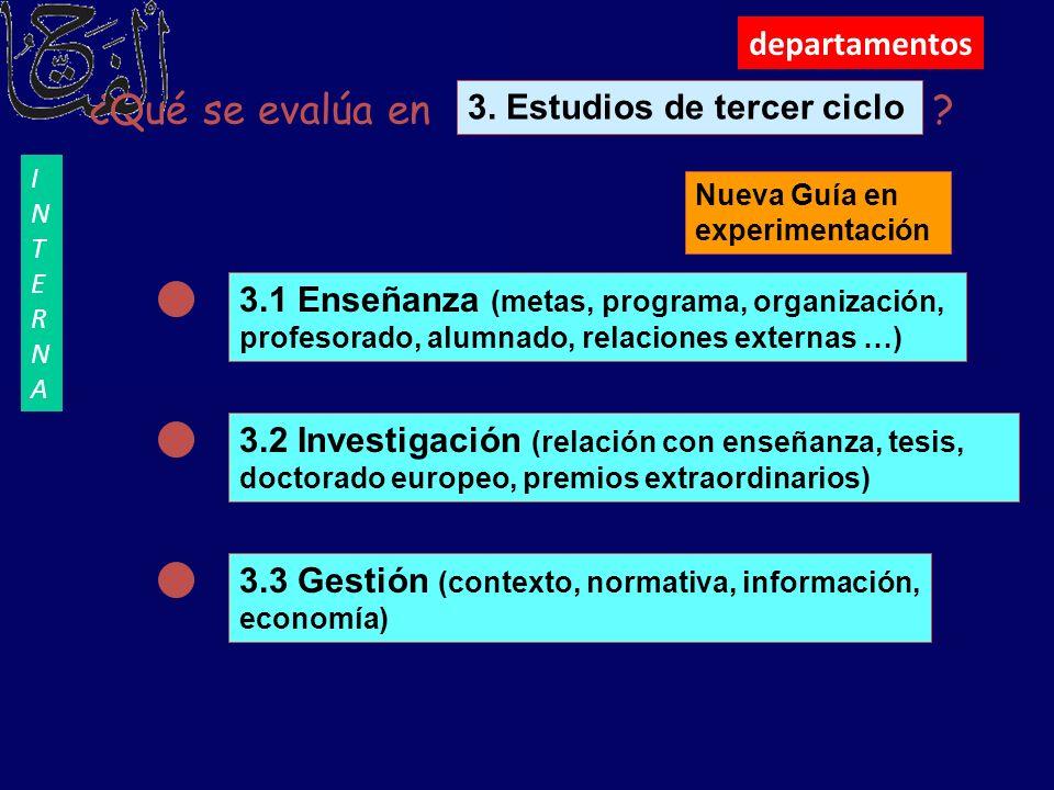 departamentos ¿Qué se evalúa en ? 3.1 Enseñanza (metas, programa, organización, profesorado, alumnado, relaciones externas …) 3.2 Investigación (relac