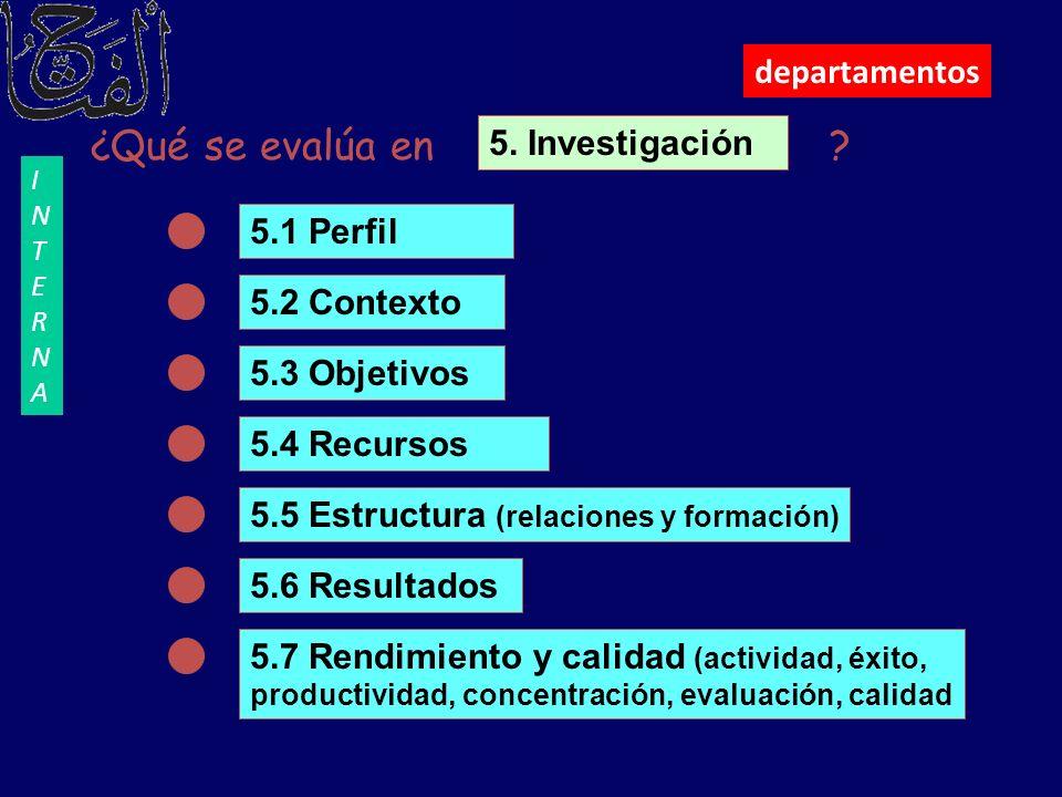 departamentos ¿Qué se evalúa en ? 5.1 Perfil 5.2 Contexto 5.3 Objetivos 5.4 Recursos 5.5 Estructura (relaciones y formación) 5.6 Resultados 5.7 Rendim