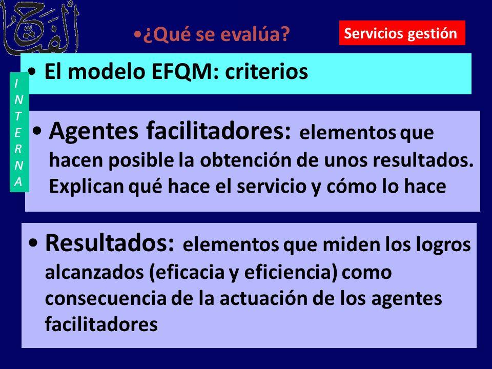 El modelo EFQM: criterios ¿Qué se evalúa? Agentes facilitadores: elementos que hacen posible la obtención de unos resultados. Explican qué hace el ser