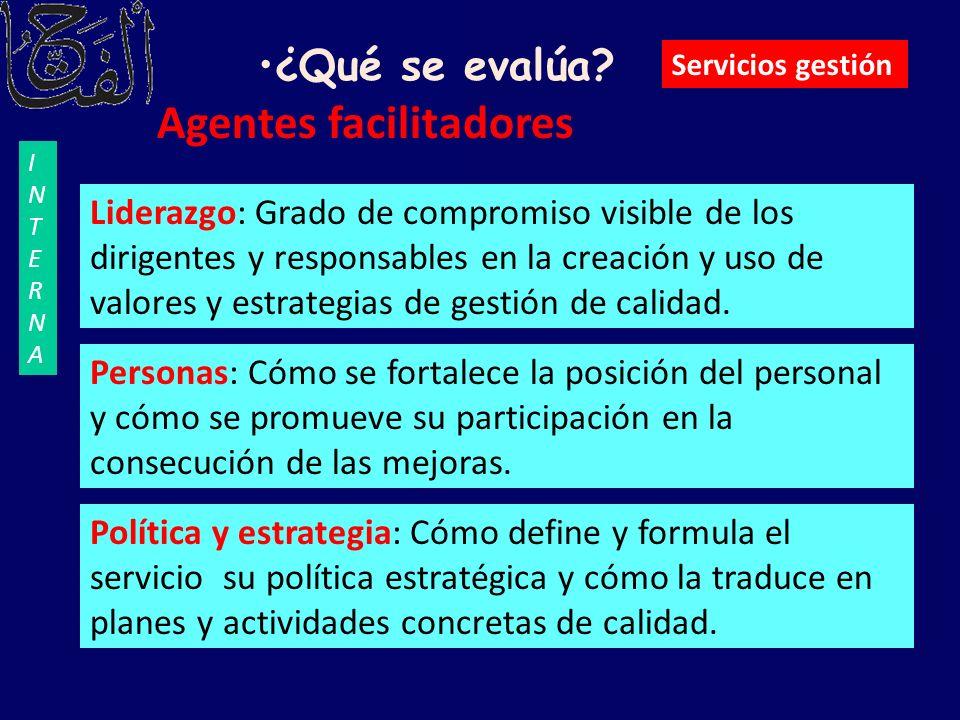 Agentes facilitadores Liderazgo: Grado de compromiso visible de los dirigentes y responsables en la creación y uso de valores y estrategias de gestión