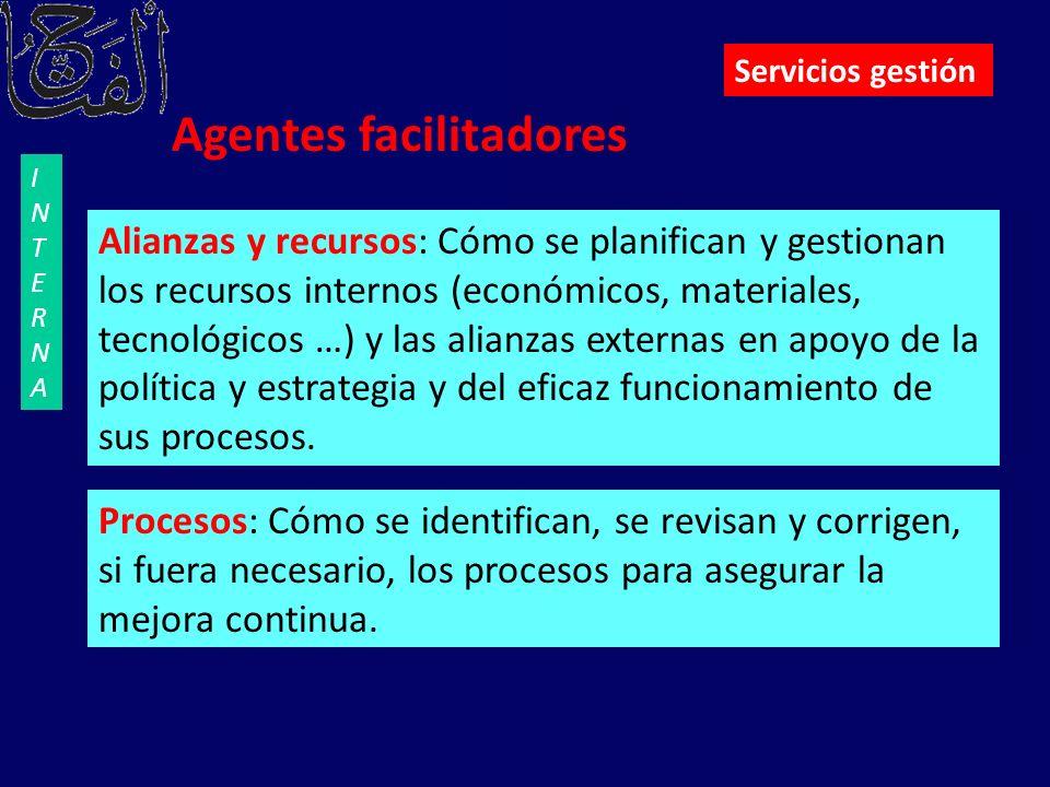 Agentes facilitadores Alianzas y recursos: Cómo se planifican y gestionan los recursos internos (económicos, materiales, tecnológicos …) y las alianza