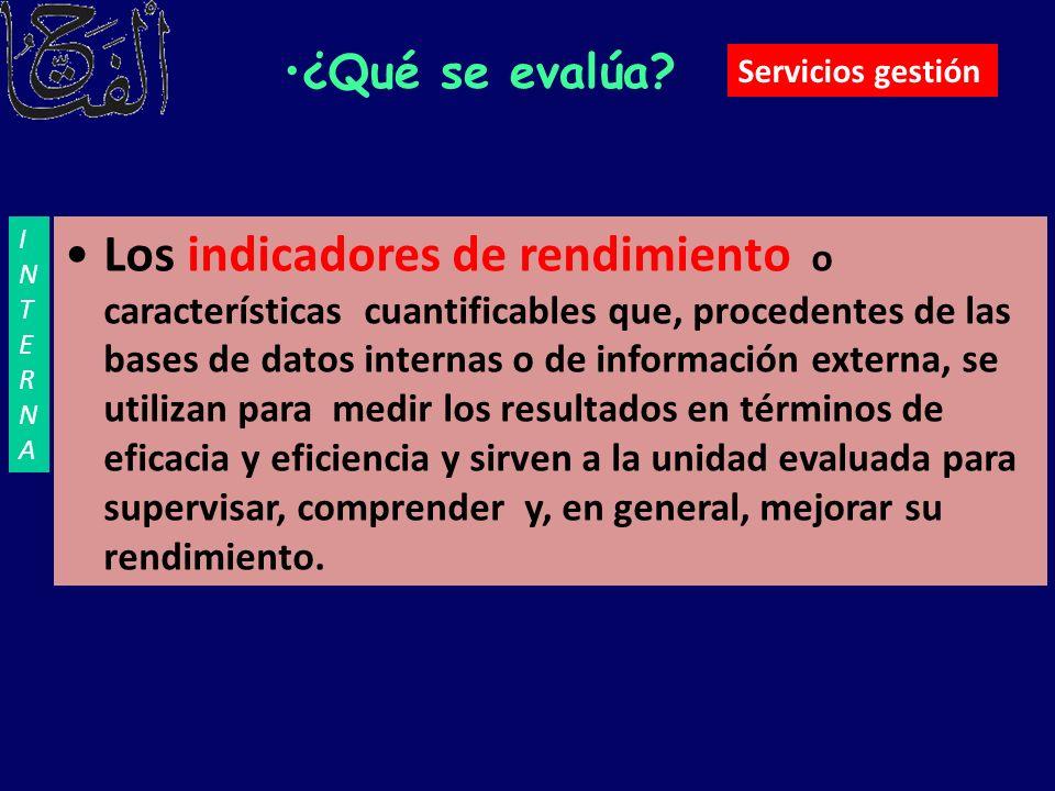 ¿Qué se evalúa? Los indicadores de rendimiento o características cuantificables que, procedentes de las bases de datos internas o de información exter