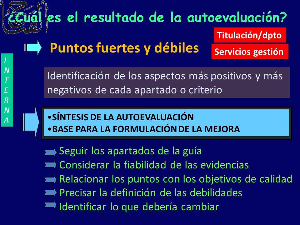 Puntos fuertes y débiles Identificación de los aspectos más positivos y más negativos de cada apartado o criterio SÍNTESIS DE LA AUTOEVALUACIÓN BASE P