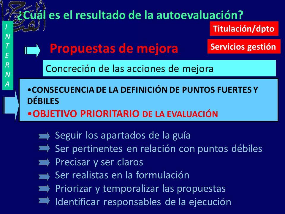 Propuestas de mejora Concreción de las acciones de mejora CONSECUENCIA DE LA DEFINICIÓN DE PUNTOS FUERTES Y DÉBILES OBJETIVO PRIORITARIO DE LA EVALUAC