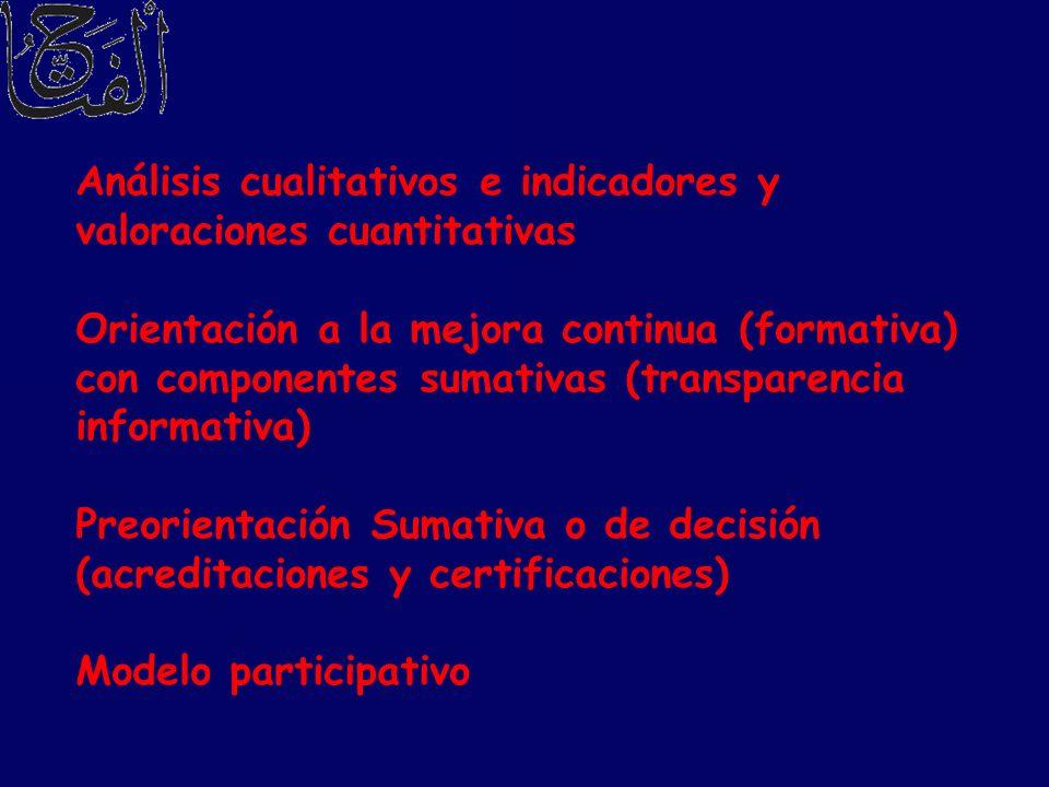 Análisis cualitativos e indicadores y valoraciones cuantitativas Orientación a la mejora continua (formativa) con componentes sumativas (transparencia