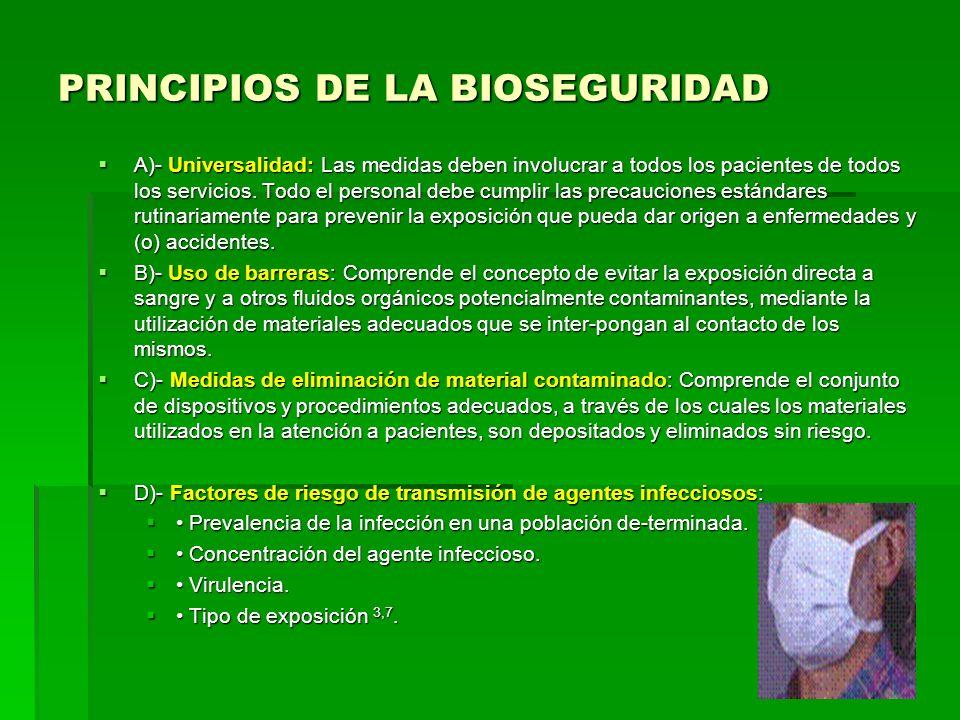 PRINCIPIOS DE LA BIOSEGURIDAD A)- Universalidad: Las medidas deben involucrar a todos los pacientes de todos los servicios. Todo el personal debe cump