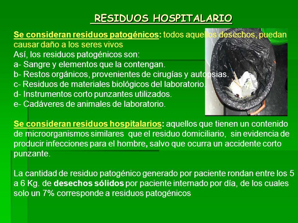 RESIDUOS HOSPITALARIO RESIDUOS HOSPITALARIO Se consideran residuos patogénicos: todos aquellos desechos, puedan causar daño a los seres vivos Así, los