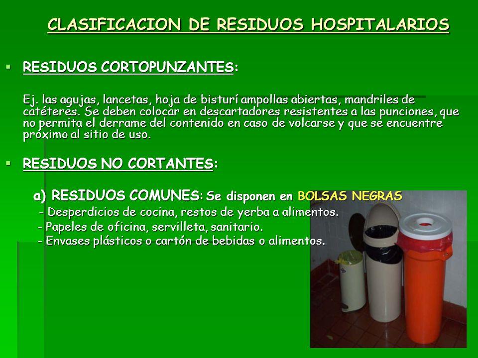 CLASIFICACION DE RESIDUOS HOSPITALARIOS RESIDUOS CORTOPUNZANTES: RESIDUOS CORTOPUNZANTES: Ej. las agujas, lancetas, hoja de bisturí ampollas abiertas,