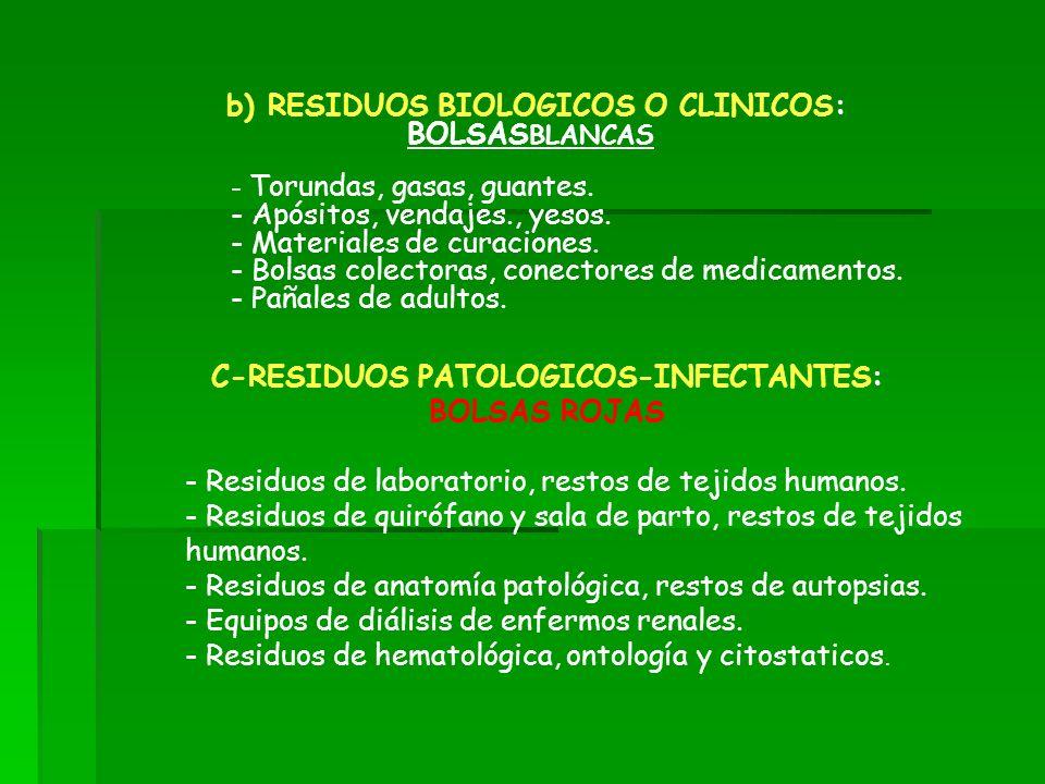 C-RESIDUOS PATOLOGICOS-INFECTANTES: BOLSAS ROJAS - Residuos de laboratorio, restos de tejidos humanos. - Residuos de quirófano y sala de parto, restos