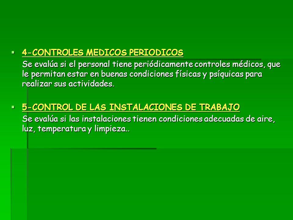 4-CONTROLES MEDICOS PERIODICOS 4-CONTROLES MEDICOS PERIODICOS Se evalúa si el personal tiene periódicamente controles médicos, que le permitan estar e