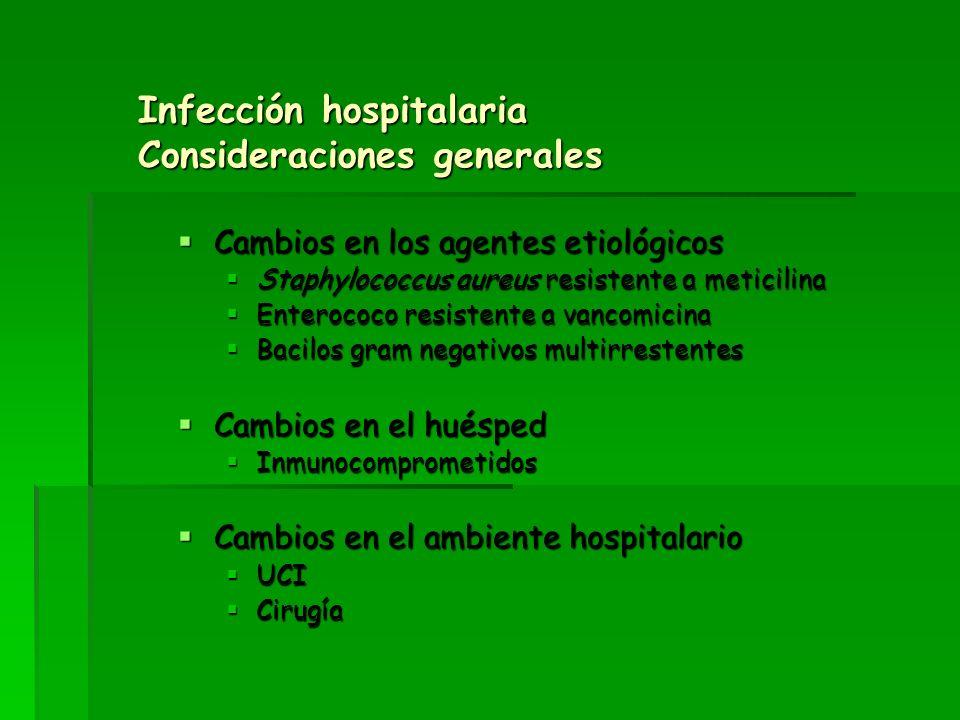 Infección hospitalaria Consideraciones generales Cambios en los agentes etiológicos Cambios en los agentes etiológicos Staphylococcus aureus resistent