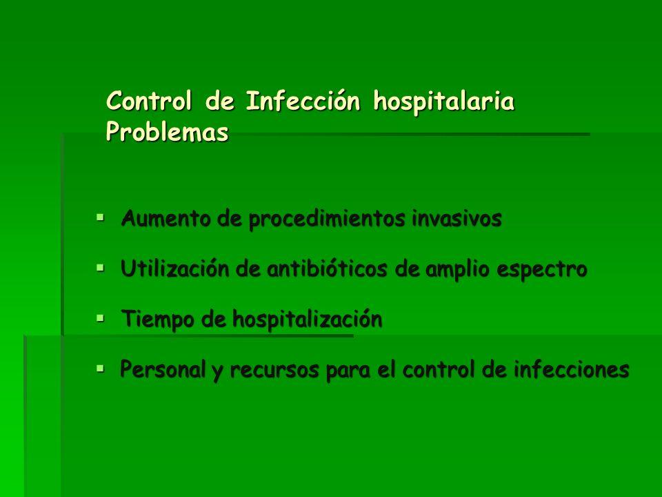 Control de Infección hospitalaria Problemas Aumento de procedimientos invasivos Aumento de procedimientos invasivos Utilización de antibióticos de amp