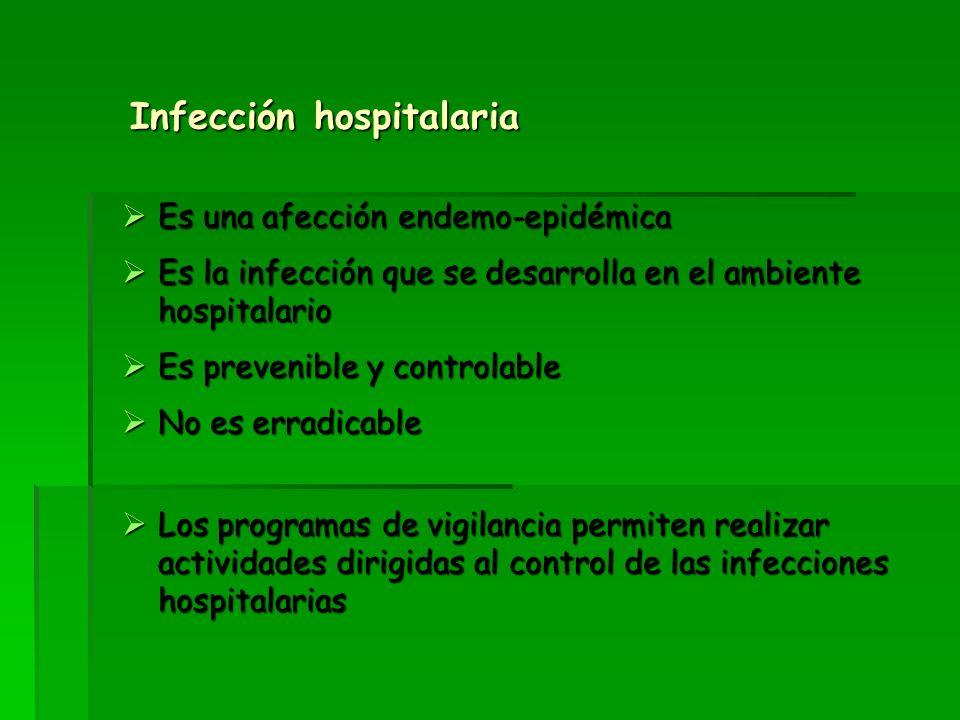 Infección hospitalaria Es una afección endemo-epidémica Es una afección endemo-epidémica Es la infección que se desarrolla en el ambiente hospitalario