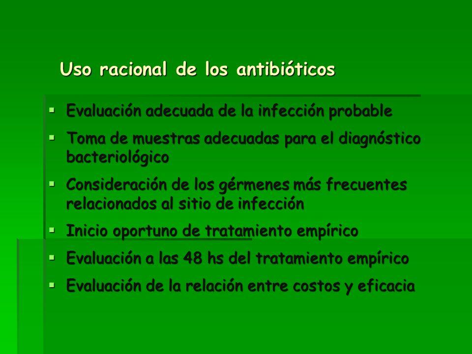 Uso racional de los antibióticos Evaluación adecuada de la infección probable Evaluación adecuada de la infección probable Toma de muestras adecuadas