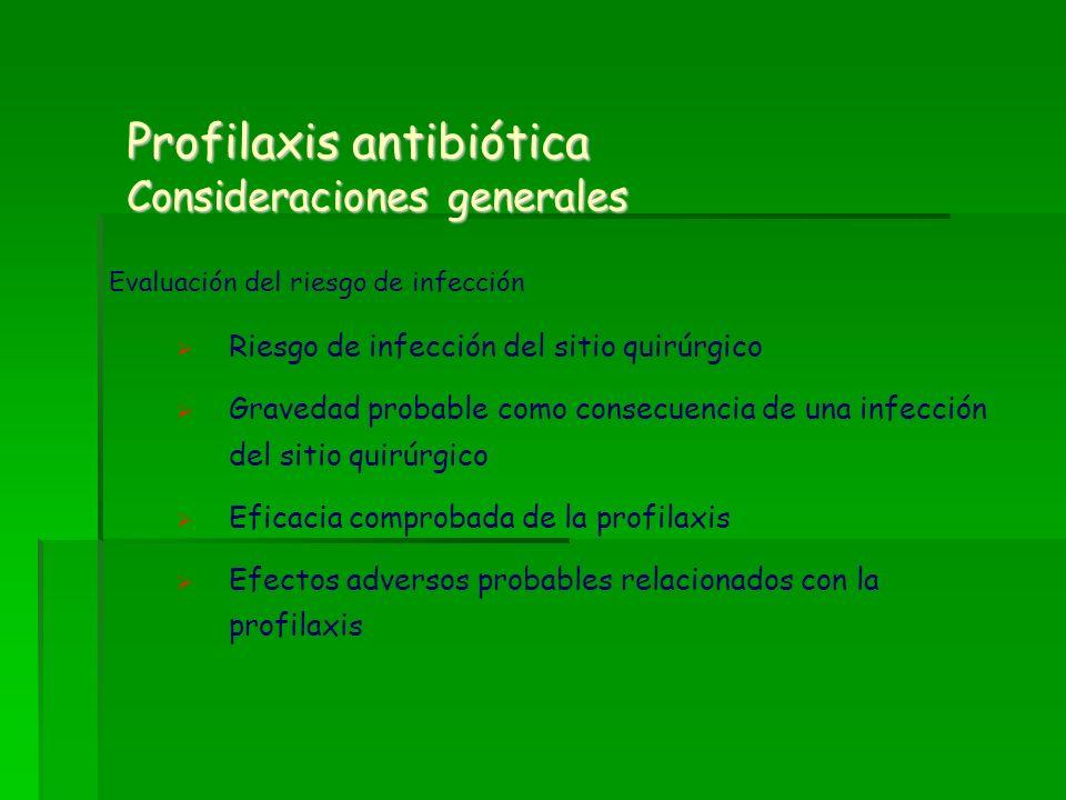 Profilaxis antibiótica Consideraciones generales Evaluación del riesgo de infección Riesgo de infección del sitio quirúrgico Gravedad probable como co