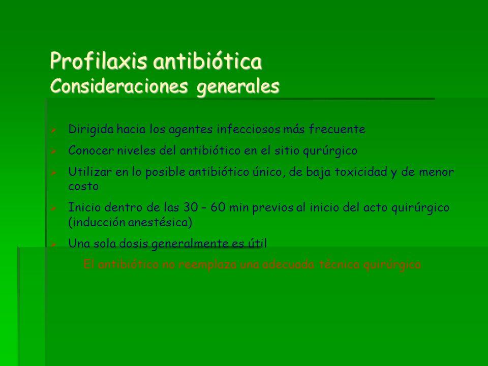 Profilaxis antibiótica Consideraciones generales Dirigida hacia los agentes infecciosos más frecuente Conocer niveles del antibiótico en el sitio qurú