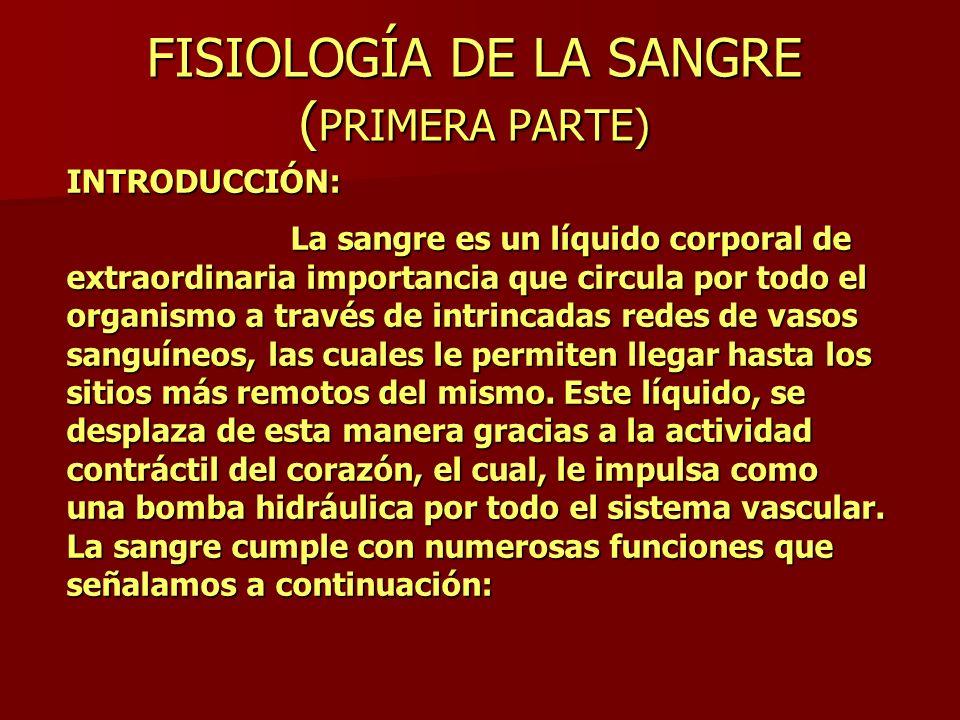 FISIOLOGÍA DE LA SANGRE ( PRIMERA PARTE) INTRODUCCIÓN: La sangre es un líquido corporal de extraordinaria importancia que circula por todo el organism