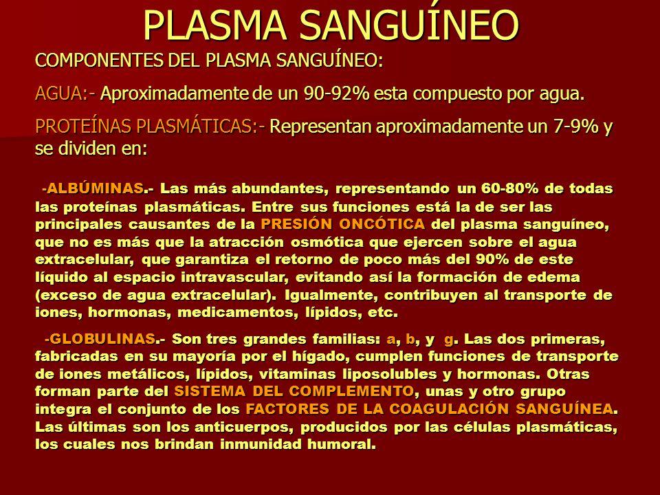 PLASMA SANGUÍNEO COMPONENTES DEL PLASMA SANGUÍNEO: AGUA:- Aproximadamente de un 90-92% esta compuesto por agua. PROTEÍNAS PLASMÁTICAS:- Representan ap