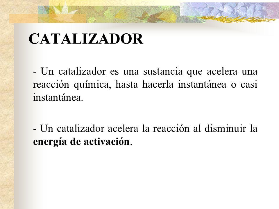 CATALIZADOR - Un catalizador es una sustancia que acelera una reacción química, hasta hacerla instantánea o casi instantánea. - Un catalizador acelera
