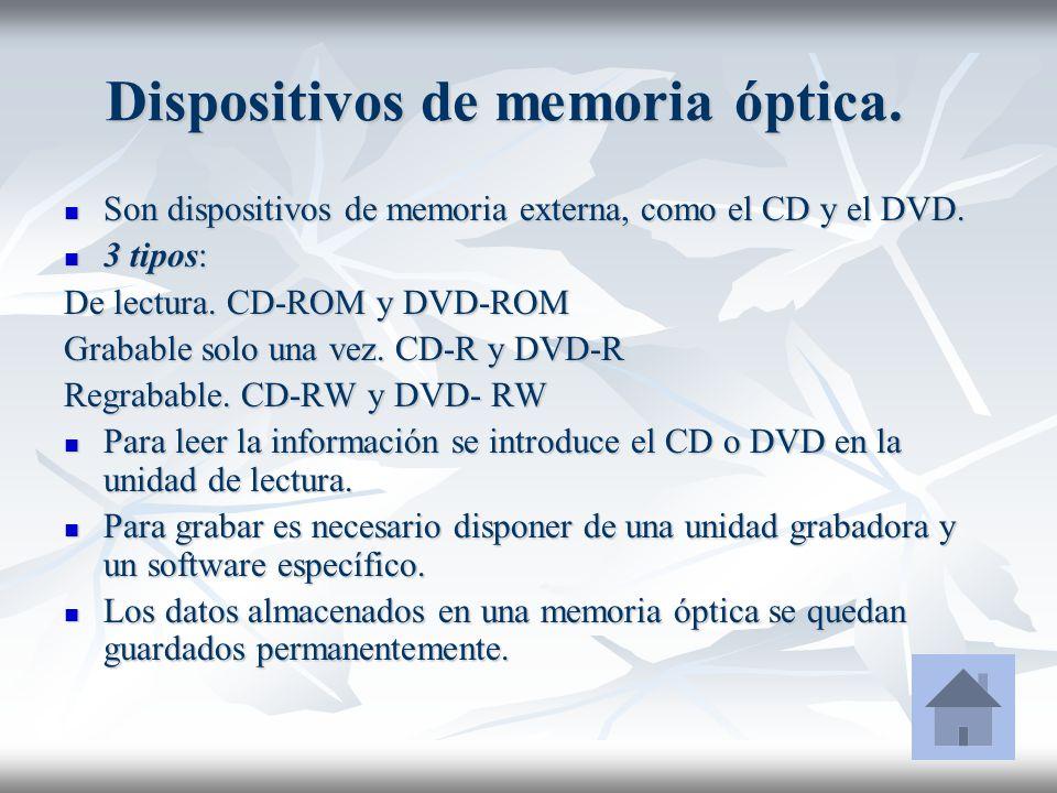 Dispositivos de memoria óptica. Son dispositivos de memoria externa, como el CD y el DVD. Son dispositivos de memoria externa, como el CD y el DVD. 3