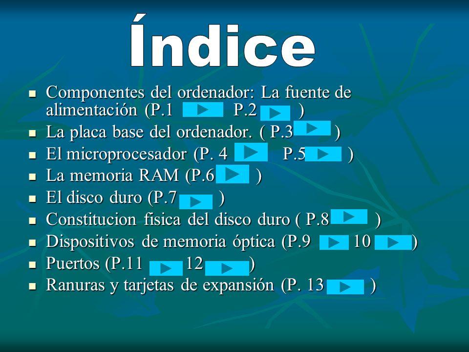 Componentes del ordenador: La fuente de alimentación (P.1 P.2 ) Componentes del ordenador: La fuente de alimentación (P.1 P.2 ) La placa base del orde