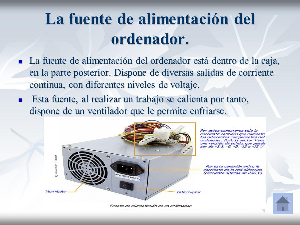 La fuente de alimentación del ordenador. La fuente de alimentación del ordenador está dentro de la caja, en la parte posterior. Dispone de diversas sa