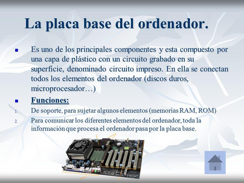 La placa base del ordenador. Es uno de los principales componentes y esta compuesto por una capa de plástico con un circuito grabado en su superficie,