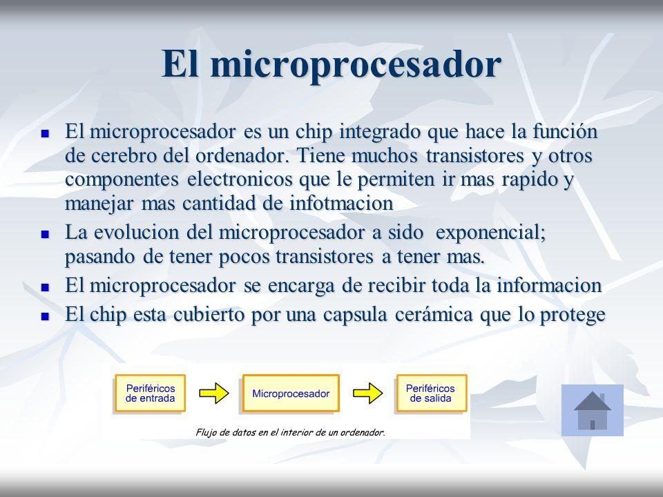El microprocesador El microprocesador es un chip integrado que hace la función de cerebro del ordenador. Tiene muchos transistores y otros componentes