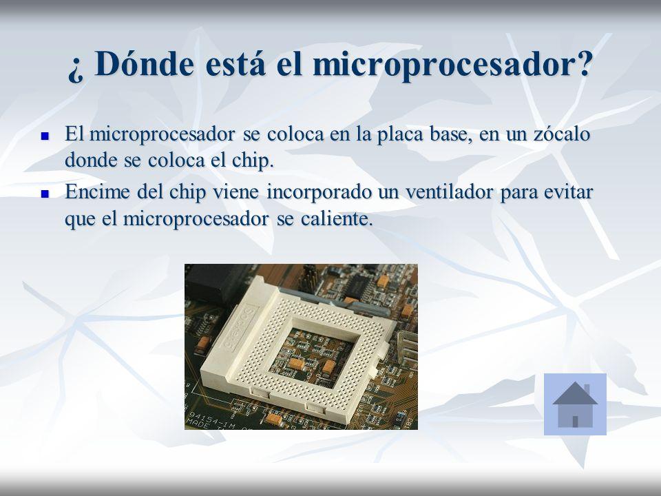 ¿ Dónde está el microprocesador? El microprocesador se coloca en la placa base, en un zócalo donde se coloca el chip. El microprocesador se coloca en