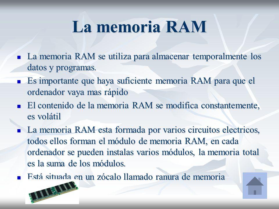 La memoria RAM La memoria RAM se utiliza para almacenar temporalmente los datos y programas. La memoria RAM se utiliza para almacenar temporalmente lo