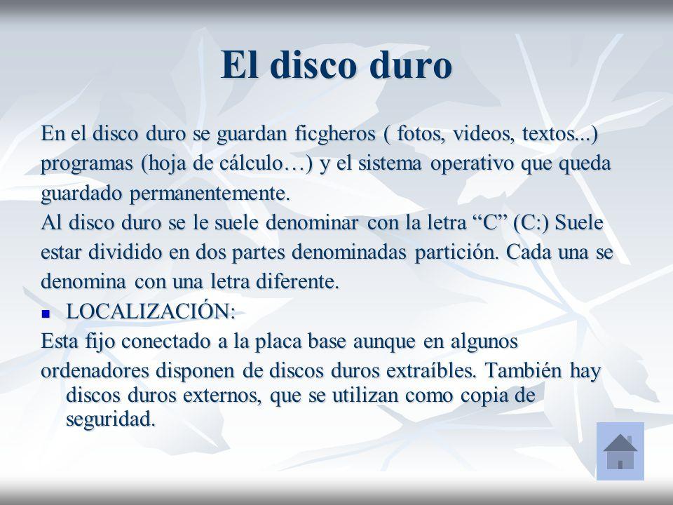 El disco duro En el disco duro se guardan ficgheros ( fotos, videos, textos...) programas (hoja de cálculo…) y el sistema operativo que queda guardado