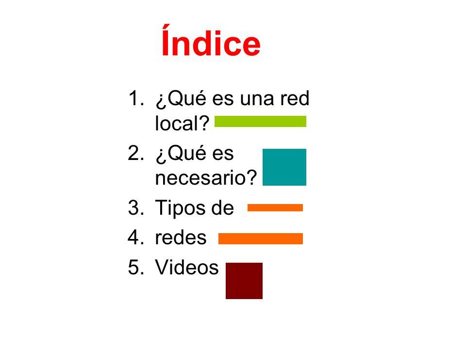 Índice 1.¿Qué es una red local? 2.¿Qué es necesario? 3.Tipos de 4.redes 5.Videos