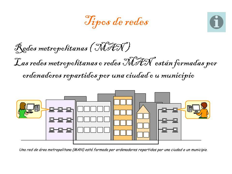Tipos de redes Redes metropolitanas ( MAN ) Las redes metropolitanas o redes MAN están formadas por ordenadores repartidos por una ciudad o u municipi