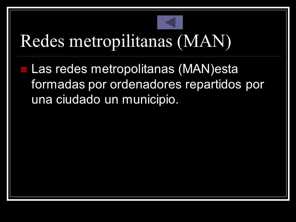 Redes metropilitanas (MAN) Las redes metropolitanas (MAN)esta formadas por ordenadores repartidos por una ciudado un municipio.
