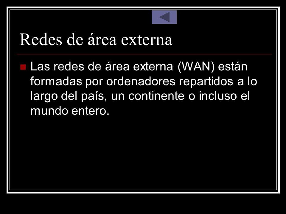Redes de área externa Las redes de área externa (WAN) están formadas por ordenadores repartidos a lo largo del país, un continente o incluso el mundo