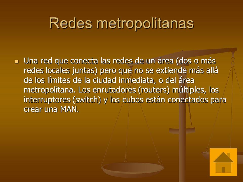 Redes metropolitanas Una red que conecta las redes de un área (dos o más redes locales juntas) pero que no se extiende más allá de los límites de la c