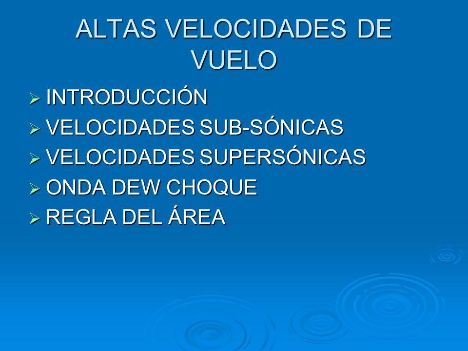 ALTAS VELOCIDADES DE VUELO Régimen Subsónico M < 0.75 Régimen Subsónico M < 0.75 Régimen Transónico 0.75 <M< 1.2 Régimen Transónico 0.75 <M< 1.2 Régimen Supersónico 1.2 <M< 5 Régimen Supersónico 1.2 <M< 5 Régimen Hipersónico M> 5 Régimen Hipersónico M> 5 Fenómenop de compresibilidad – variación de la densidad de aire Fenómenop de compresibilidad – variación de la densidad de aire