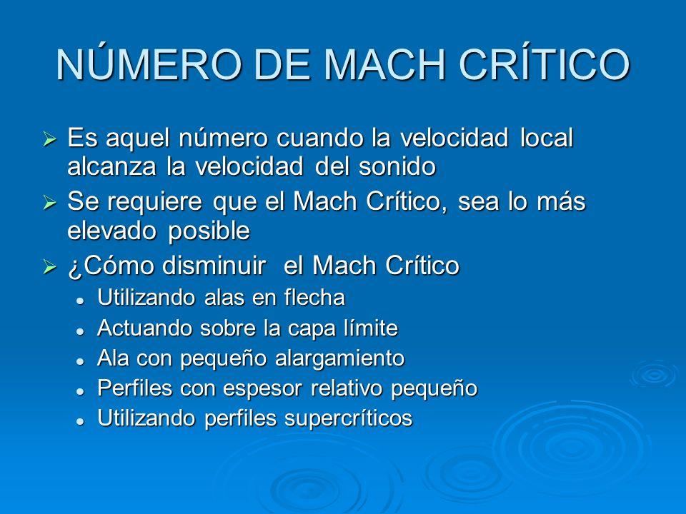 NÚMERO DE MACH CRÍTICO Es aquel número cuando la velocidad local alcanza la velocidad del sonido Es aquel número cuando la velocidad local alcanza la