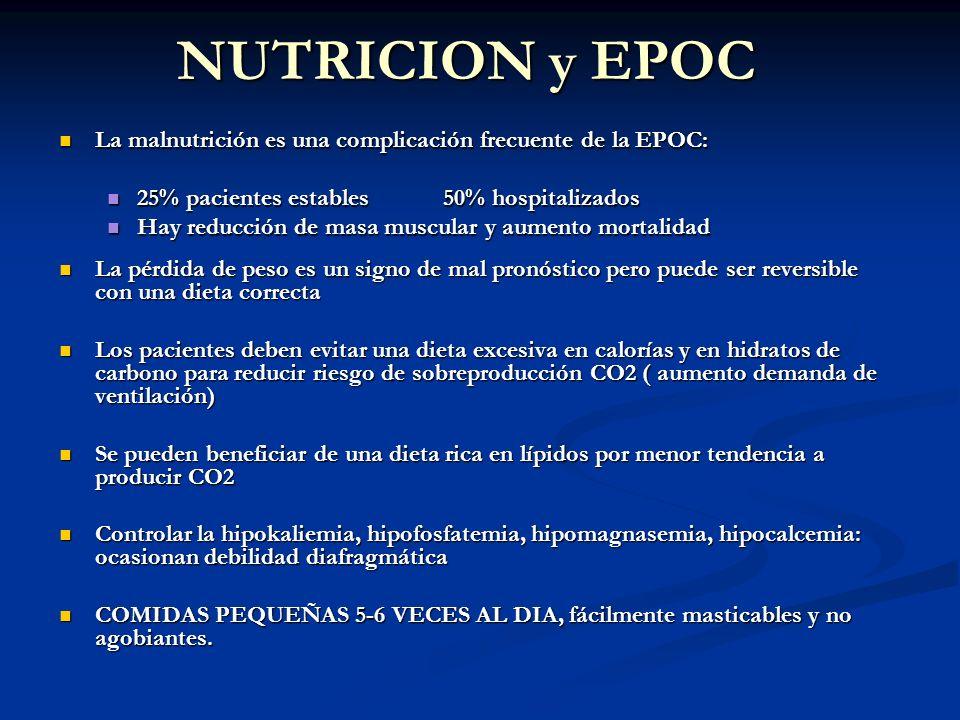 NUTRICION y EPOC La malnutrición es una complicación frecuente de la EPOC: La malnutrición es una complicación frecuente de la EPOC: 25% pacientes est