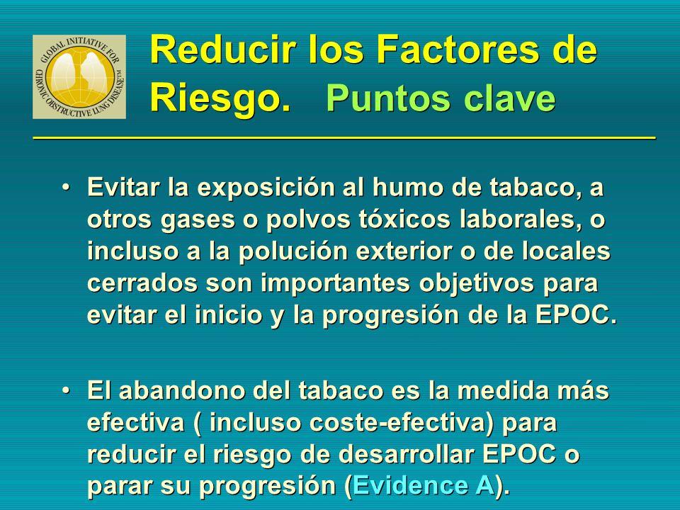 Reducir los Factores de Riesgo. Puntos clave Evitar la exposición al humo de tabaco, a otros gases o polvos tóxicos laborales, o incluso a la polución