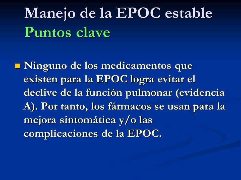 Manejo de la EPOC estable Puntos clave Ninguno de los medicamentos que existen para la EPOC logra evitar el declive de la función pulmonar (evidencia