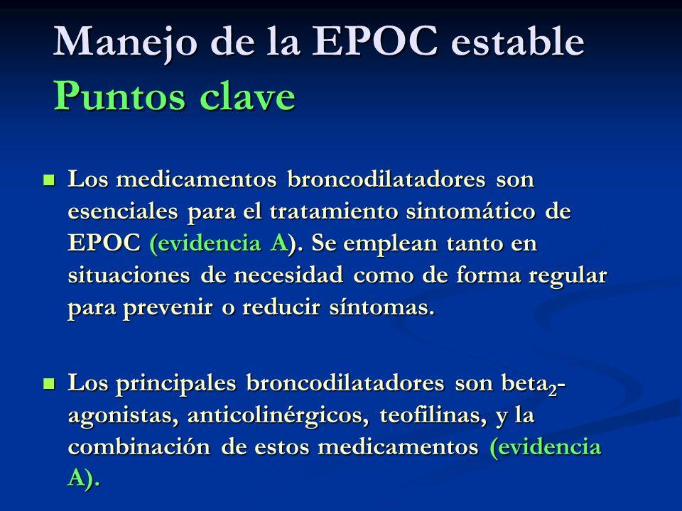 Manejo de la EPOC estable Puntos clave Los medicamentos broncodilatadores son esenciales para el tratamiento sintomático de EPOC (evidencia A). Se emp