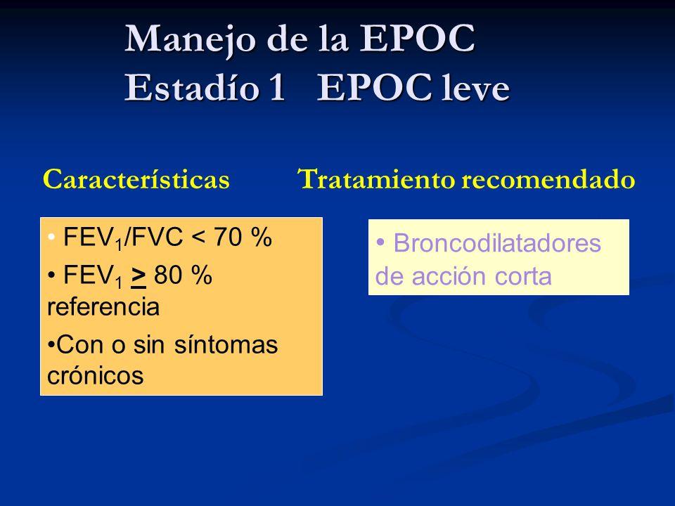 Manejo de la EPOC Estadío 1 EPOC leve Características Tratamiento recomendado FEV 1 /FVC < 70 % FEV 1 > 80 % referencia Con o sin síntomas crónicos Br