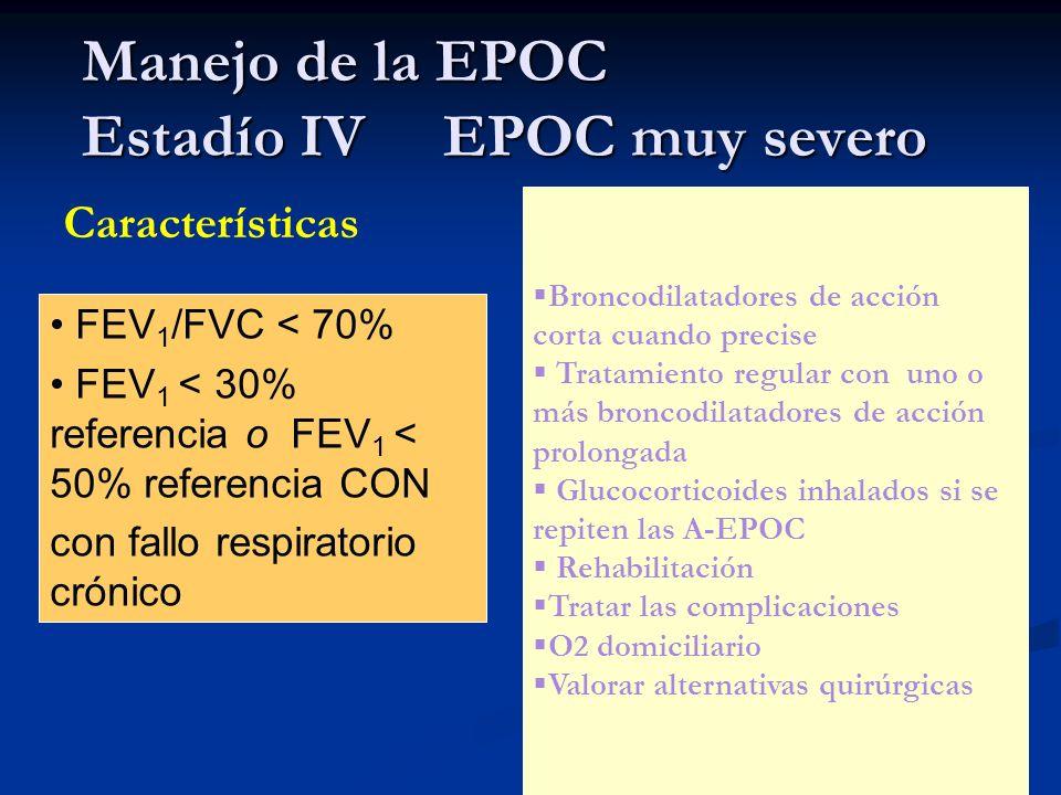 Manejo de la EPOC Estadío IV EPOC muy severo Características FEV 1 /FVC < 70% FEV 1 < 30% referencia o FEV 1 < 50% referencia CON con fallo respirator