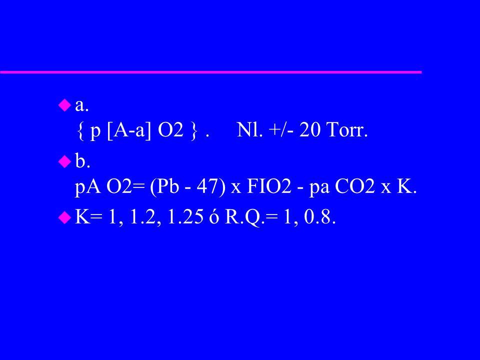 u a. { p [A-a] O2 }. Nl. +/- 20 Torr. u b. pA O2= (Pb - 47) x FIO2 - pa CO2 x K. u K= 1, 1.2, 1.25 ó R.Q.= 1, 0.8.