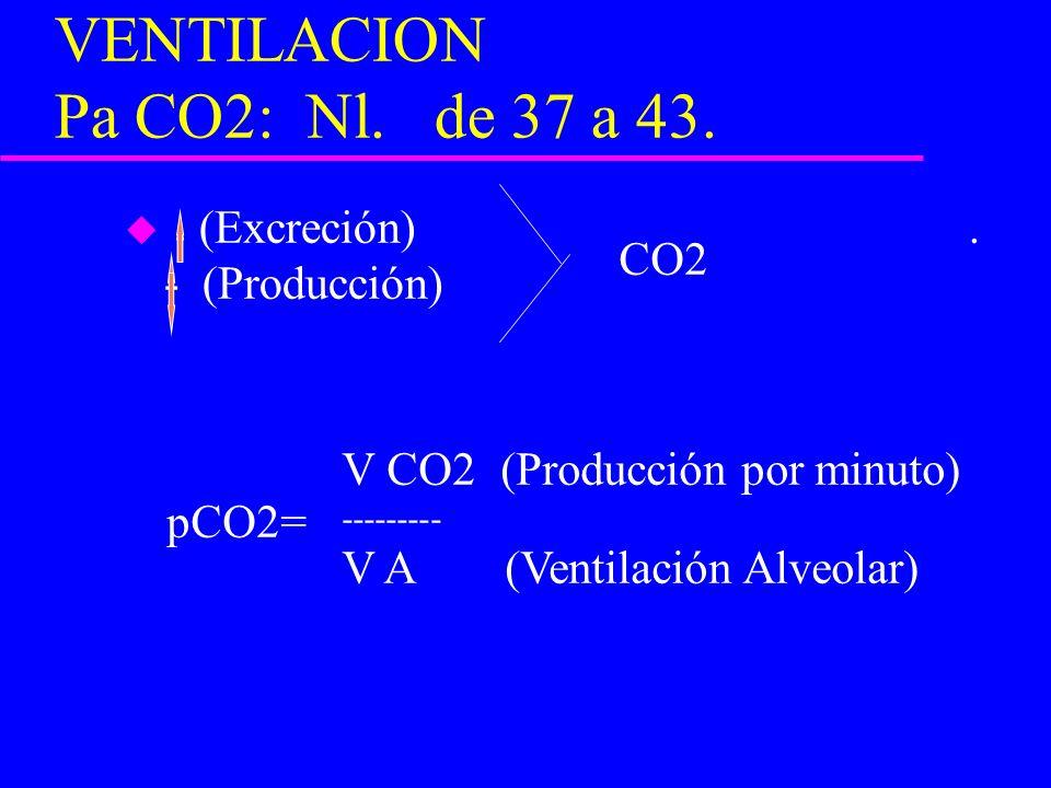 VENTILACION Pa CO2: Nl. de 37 a 43. u (Excreción). - (Producción) CO2 V CO2 (Producción por minuto) --------- V A (Ventilación Alveolar) pCO2=